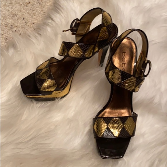 bebe Shoes - BeNe Gold and chocolate heels worn once